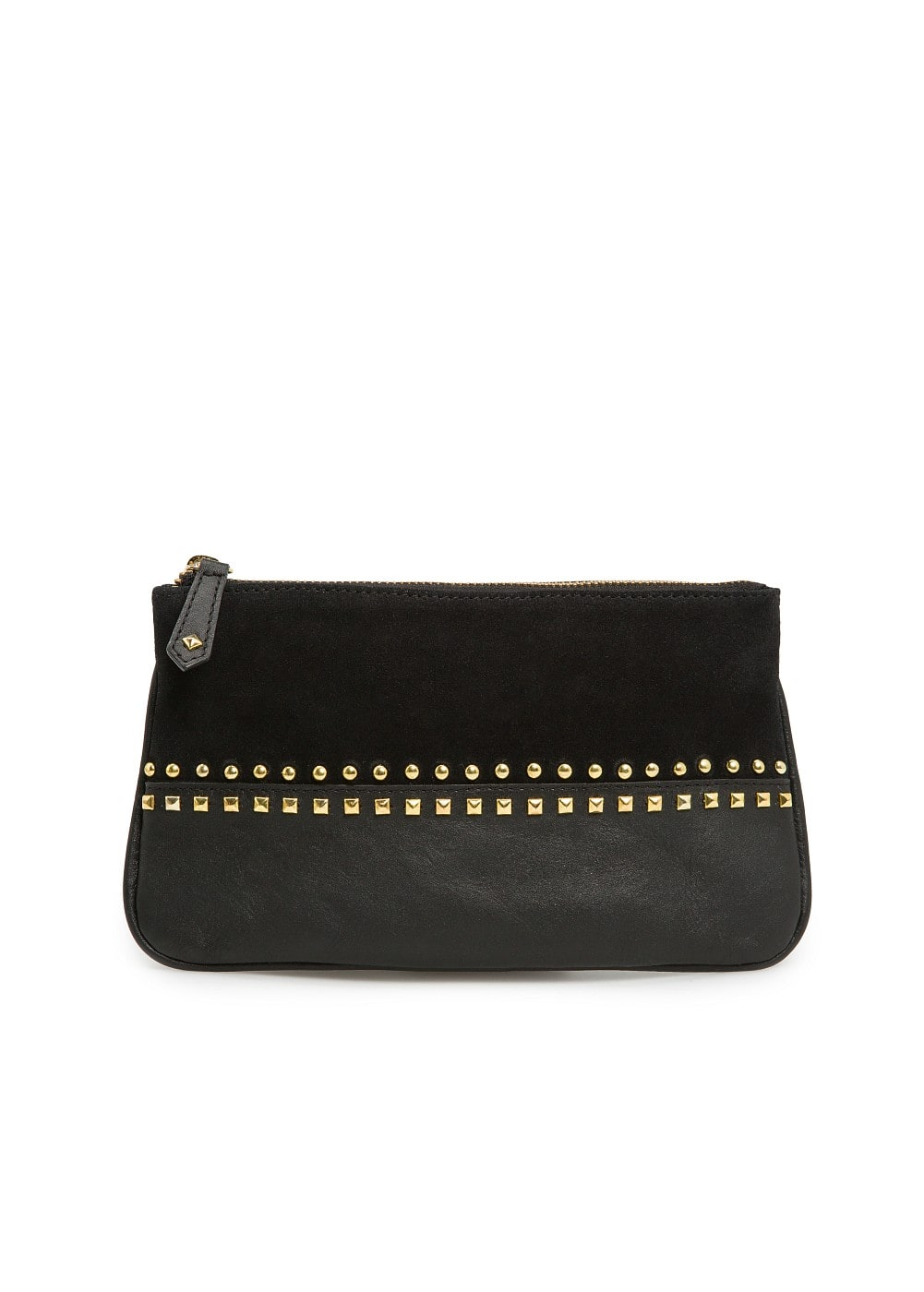 Studded leather cosmetic bag