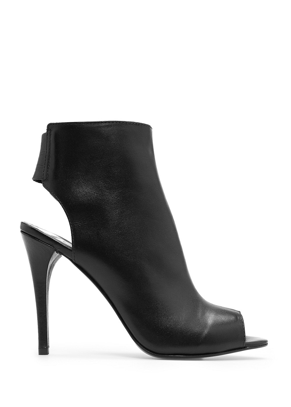 Leather peep-toe ankle boots