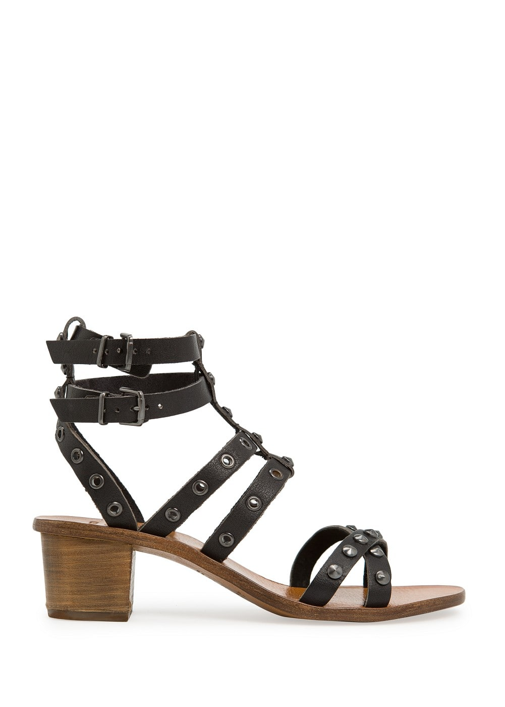Studded gladiator leather sandals | MANGO