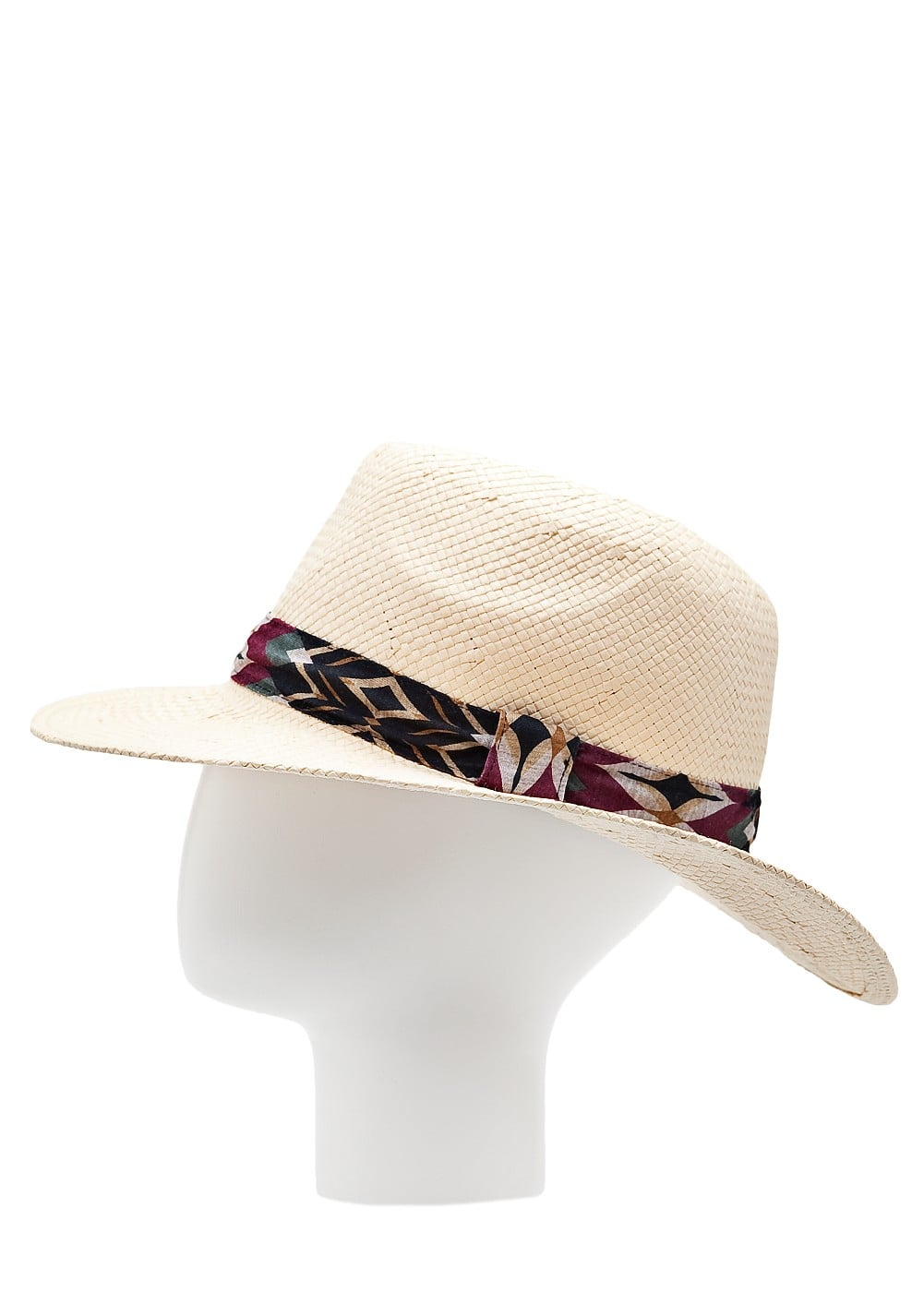 Ribbon straw fedora