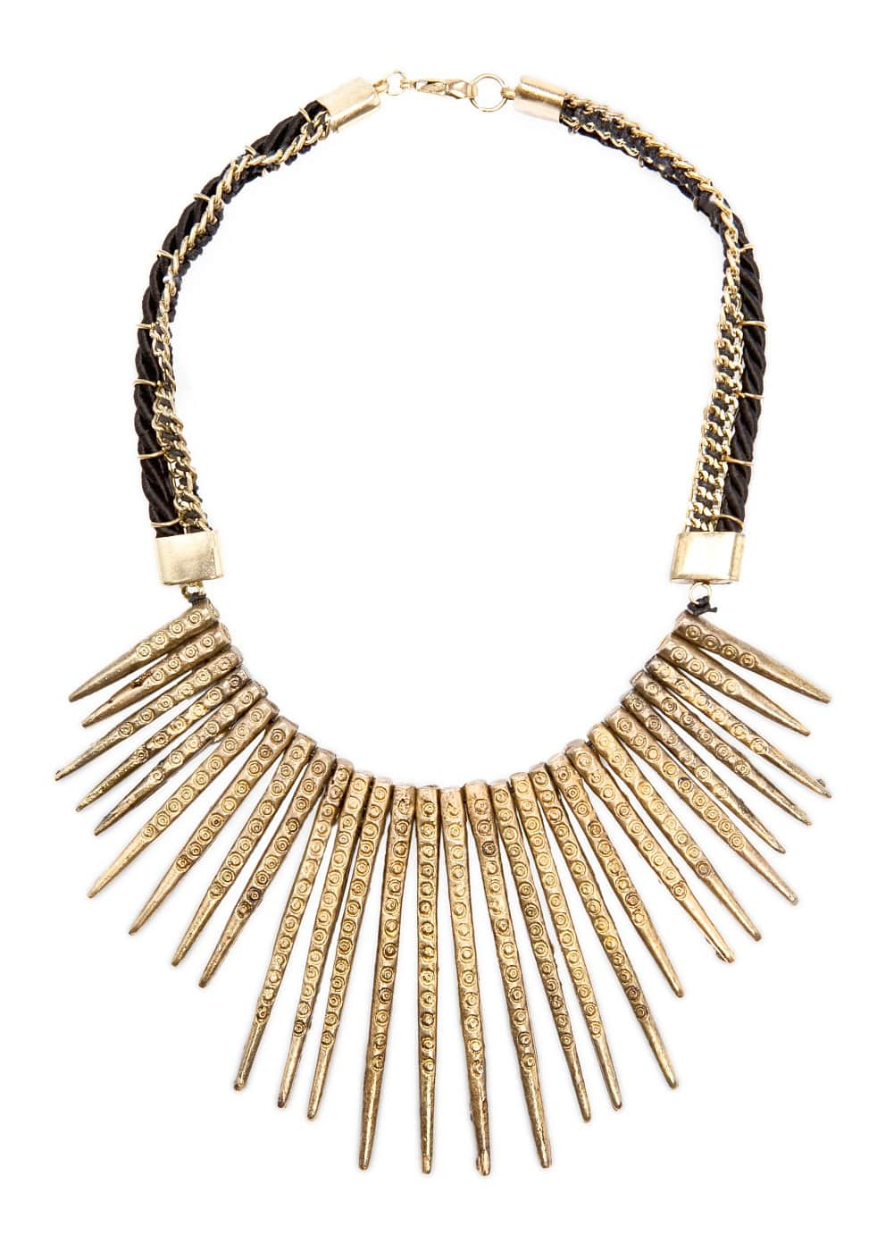 Embossed spikes necklace