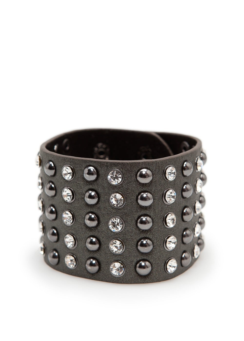 Studs and crystals leather bracelet | MANGO