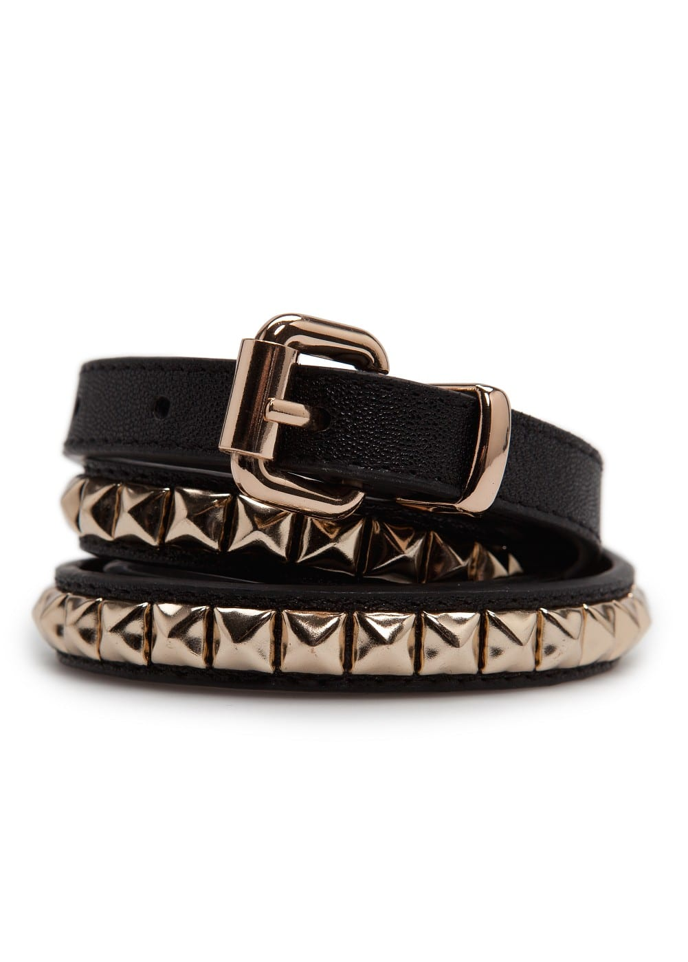 Pyramid studs slim belt