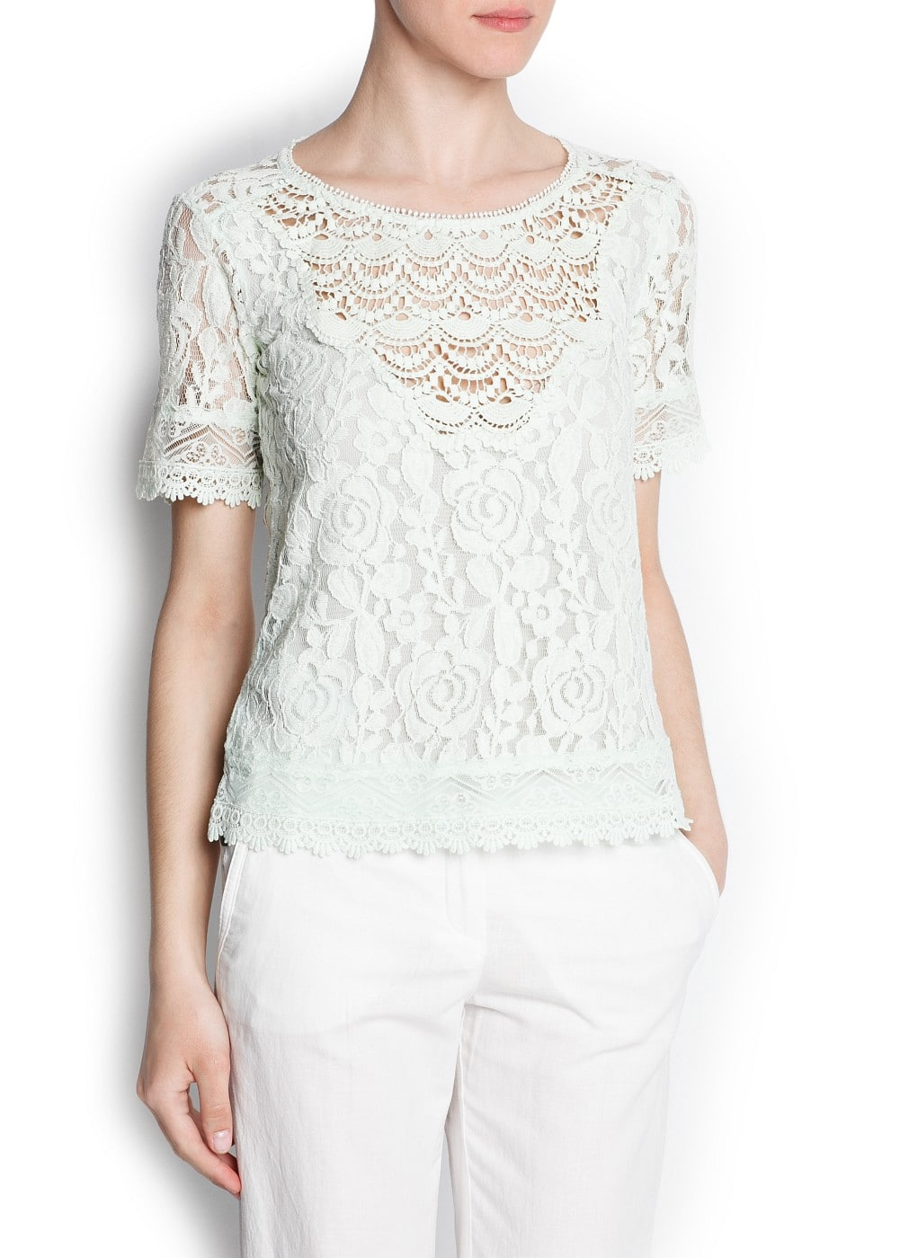 Guipure embellished lace blouse
