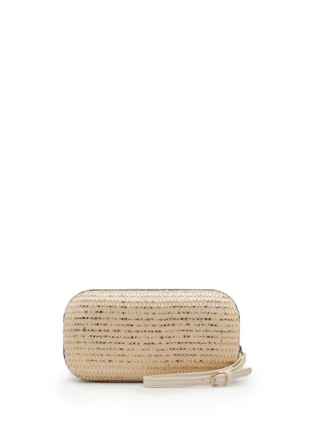 Metallic woven box clutch