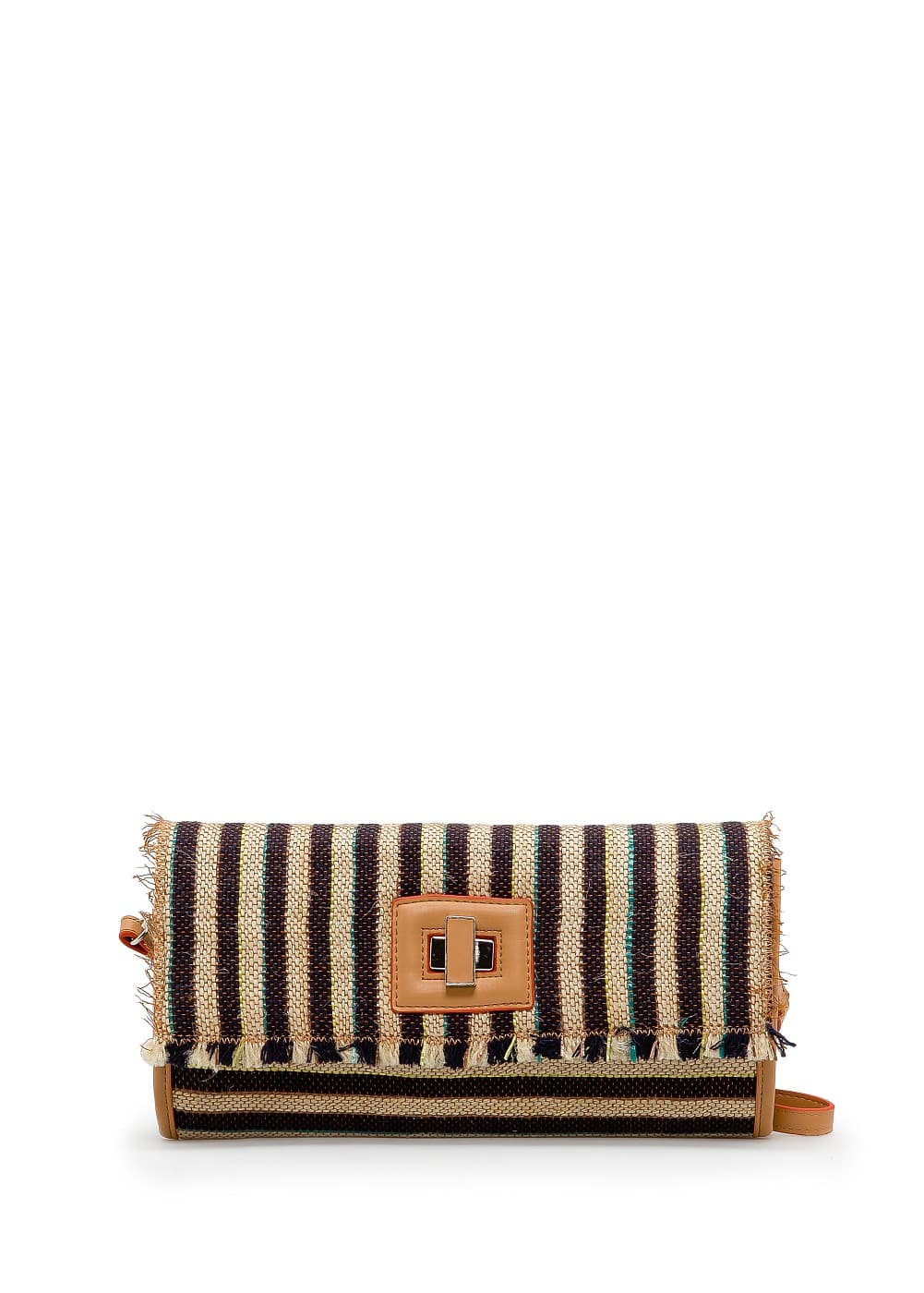 Striped woven clutch