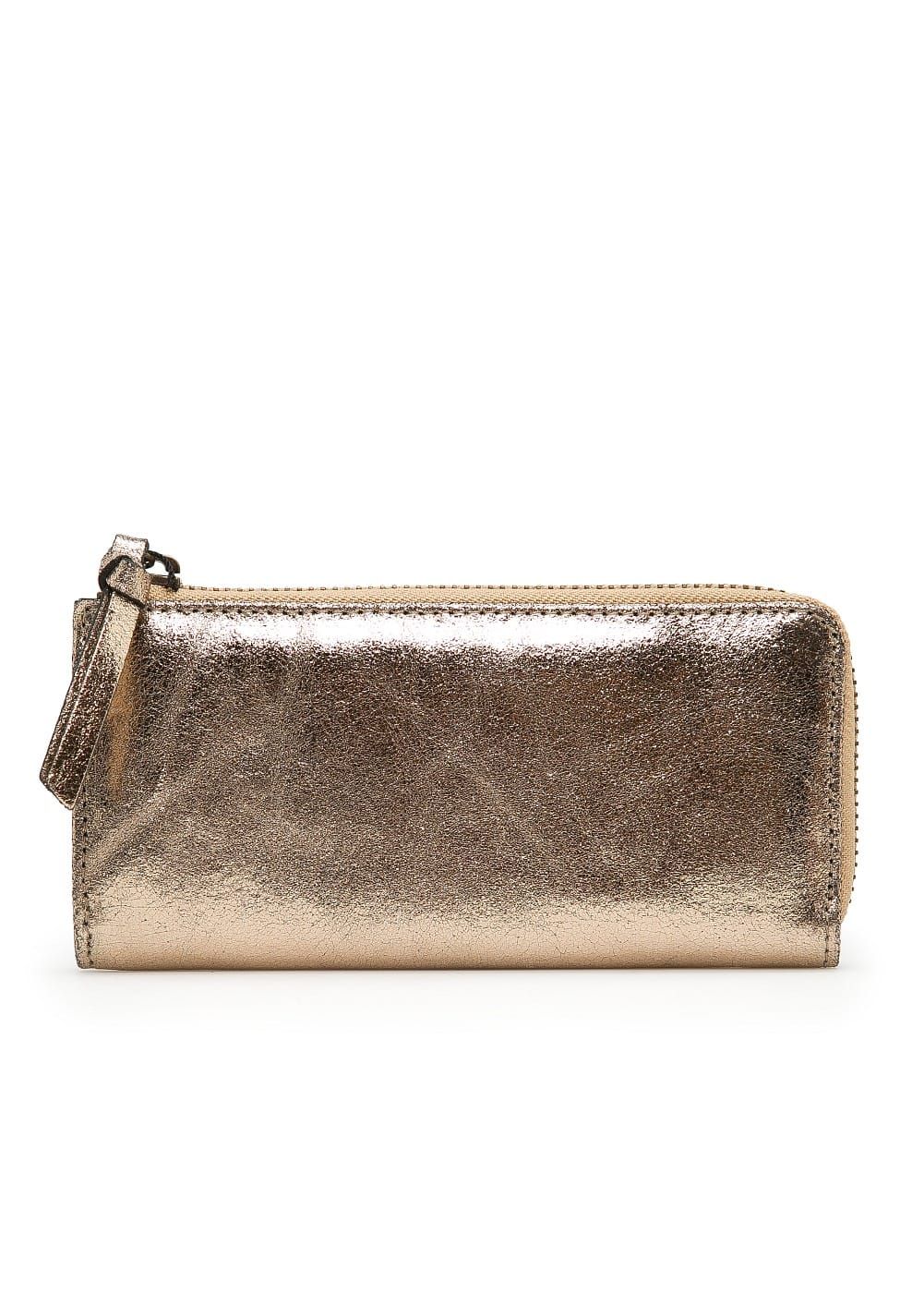 Metallic leather wallet | MANGO