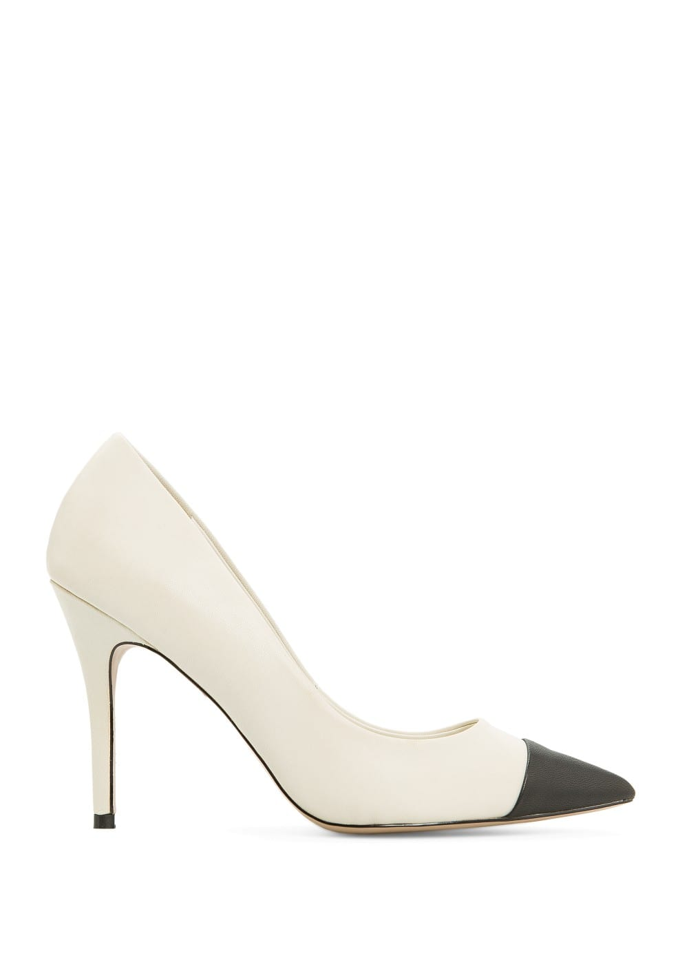 Contrast cap toe leather stilettos