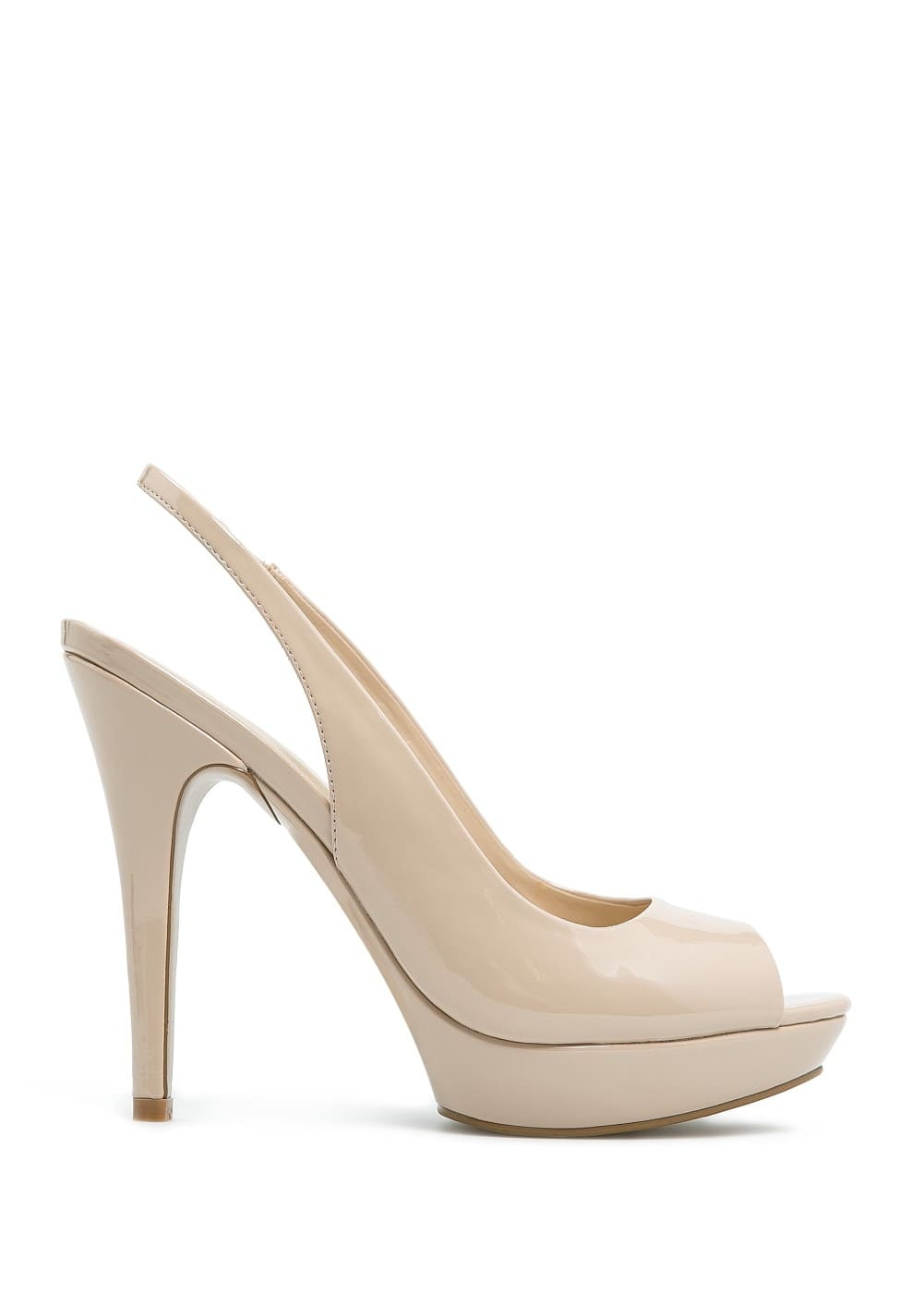 Patent sling back peep-toe shoes
