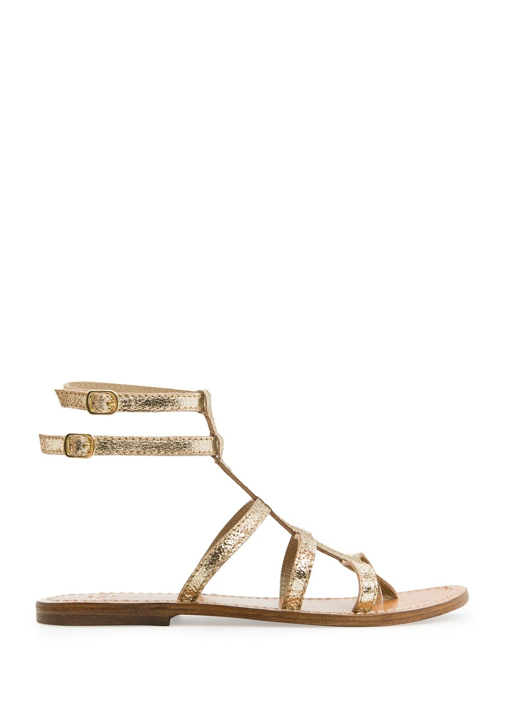 Metallic strappy leather sandals