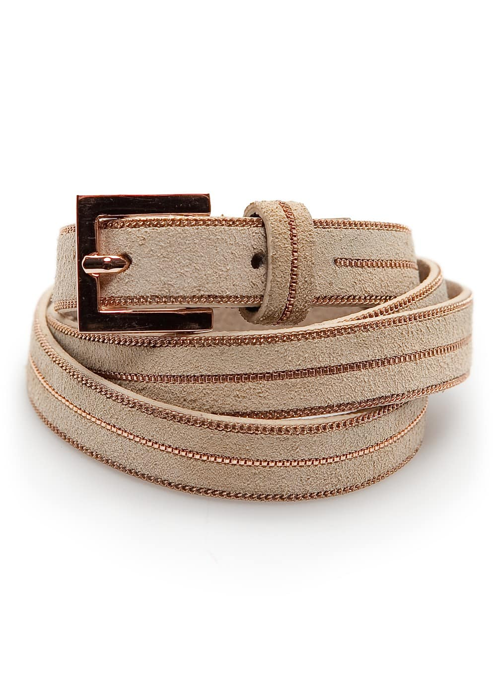 Slim suede chain belt