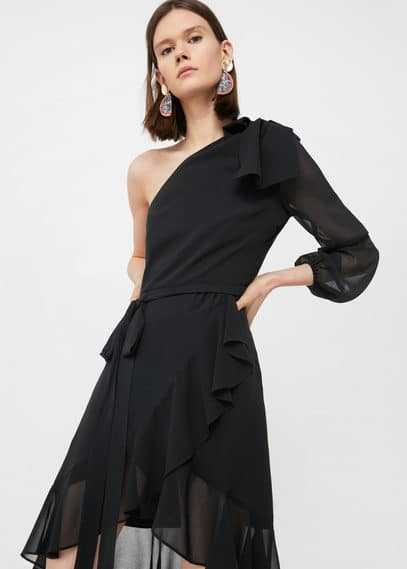 mango female mango asymmetrical ruffle dress