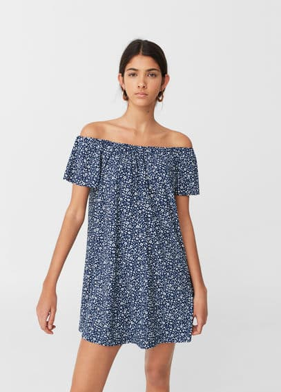 Mango off-shoulder jurk ecru