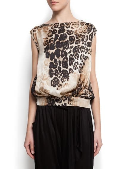 Top pannello animal print