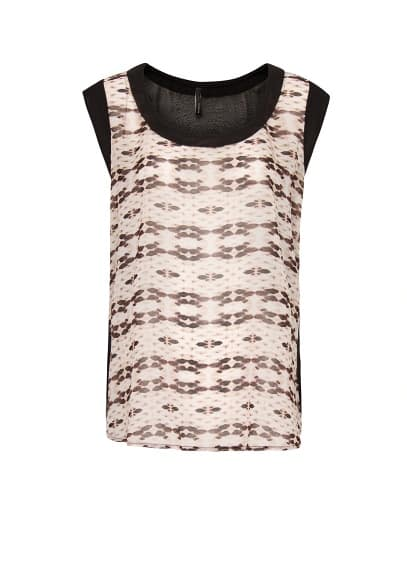 Printed panel sheer top