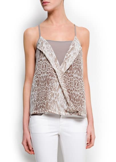 Top incrociato animal print