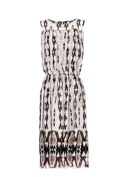 Pleated printed dress