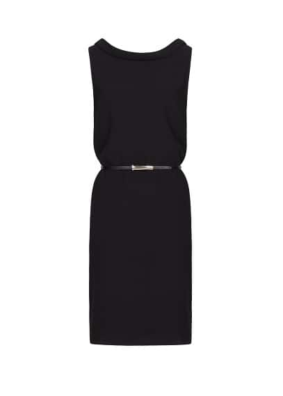 Sleeveless dress with belt