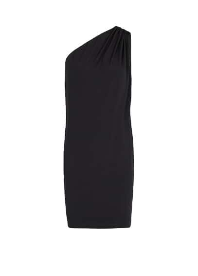 Gathered detail asymmetric dress