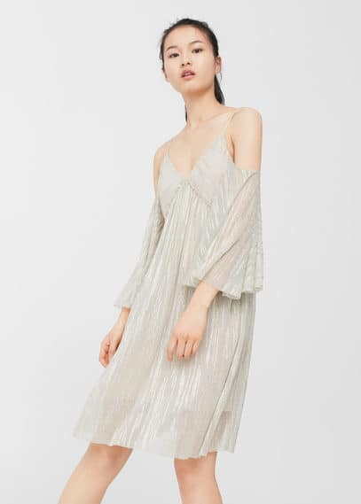 Mango off-shoulder jurk goud