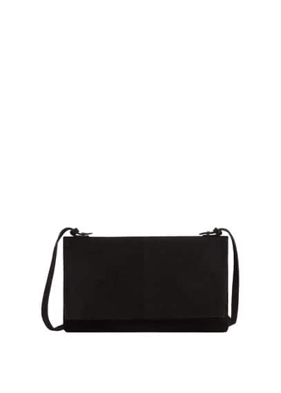 Flap Leather Bag - predominant colour: black; occasions: casual, creative work; type of pattern: standard; style: messenger; length: across body/long; size: standard; material: leather; pattern: plain; finish: plain; wardrobe: basic; season: s/s 2017