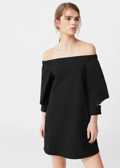 Mango off-shoulder jurk zwart