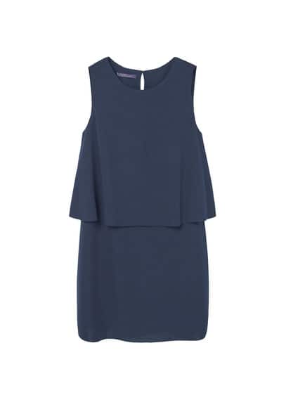 Double Layer Dress - style: shift; length: mid thigh; neckline: round neck; pattern: plain; sleeve style: sleeveless; predominant colour: navy; occasions: evening, occasion; fit: body skimming; fibres: polyester/polyamide - 100%; back detail: keyhole/peephole detail at back; sleeve length: sleeveless; texture group: crepes; pattern type: fabric; wardrobe: event; season: s/s 2017