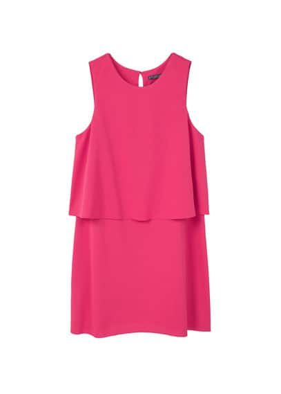 Double Layer Dress - style: shift; length: mid thigh; neckline: round neck; pattern: plain; sleeve style: sleeveless; predominant colour: hot pink; occasions: evening, occasion; fit: body skimming; fibres: polyester/polyamide - 100%; back detail: keyhole/peephole detail at back; sleeve length: sleeveless; texture group: crepes; pattern type: fabric; wardrobe: event; season: s/s 2017