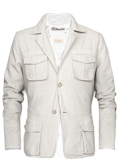 LINEN COTTON-BLEND SAFARI JACKET