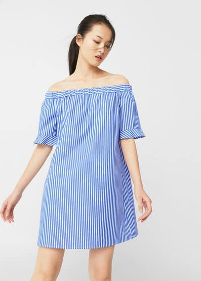 Mango off-shoulder jurk porseleinblauw