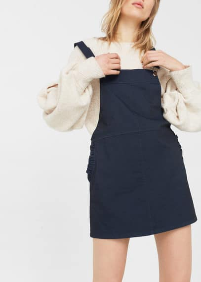 mango female mango short cotton pinafore dress