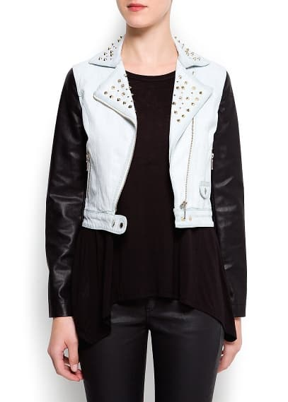 Contrast sleeves denim jacket