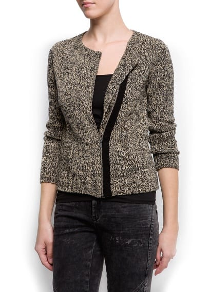 Zipped flecked cardigan