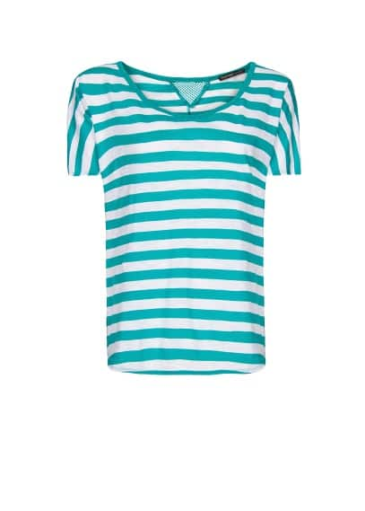 Mesh panel striped t-shirt