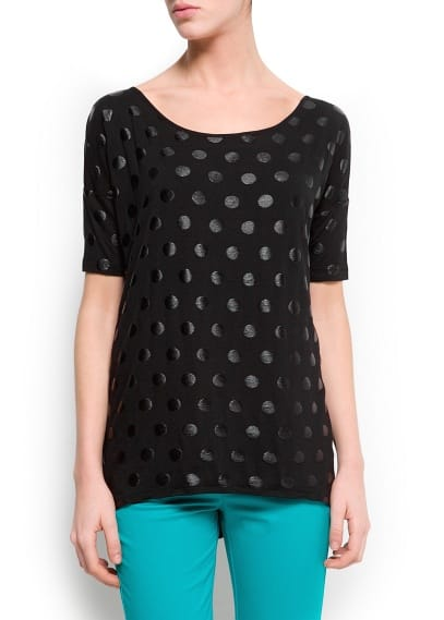 Polka-dot print oversized t-shirt