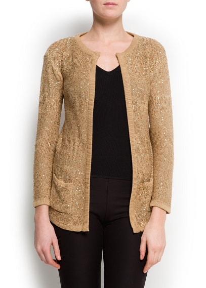 Sequined long cardigan