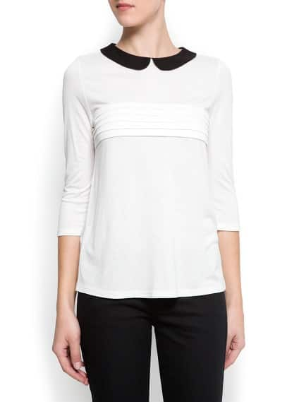 Contrast collar blouse