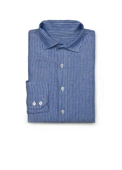 CLASSIC-FIT STRIPED LINEN SHIRT