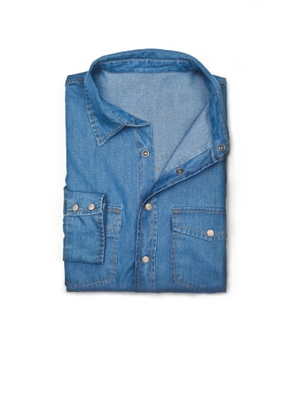 SLIM-FIT MEDIUM WASH DENIM SHIRT
