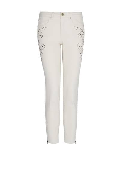 Studded denim slim trousers