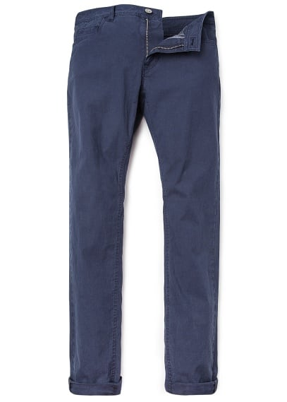 SLIM-FIT DYED COTTON TROUSERS