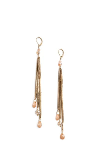 Faceted stones chain earrings