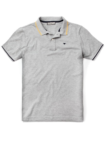 Trimming cotton piqué polo shirt