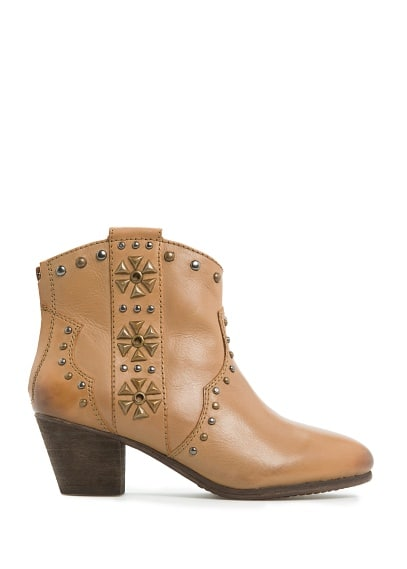 Studded cowboy ankle boot
