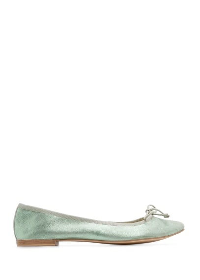 Metallic leather ballerinas