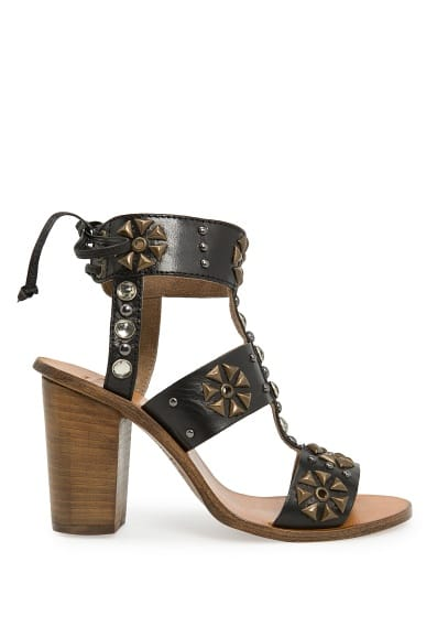 Crystals and studs leather sandals