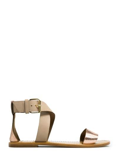 Metallic details leather sandal