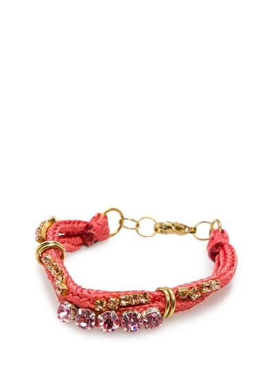 Drawcord bracelet with crystals