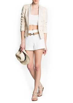 Side slits crepe shorts