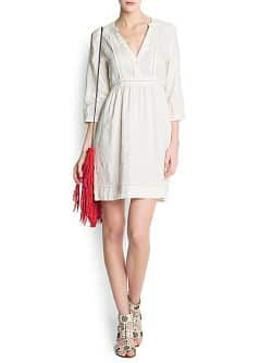 Mao collar linen dress